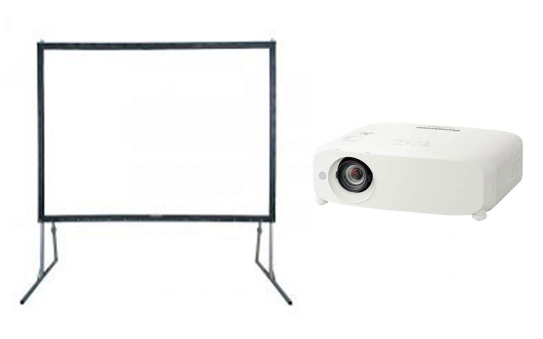 Screen Ukuran 4x6m, 3x4m, 2x3m Projector 4500 Ansi Lumens, 5500 Ansi Lumens, 6000 Ansi Lumens